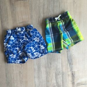 Bundle of 2 toddler swim trunks size 12-18 months
